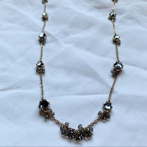 LOFT Long Jeweled Necklace Lobster Claw Clasp